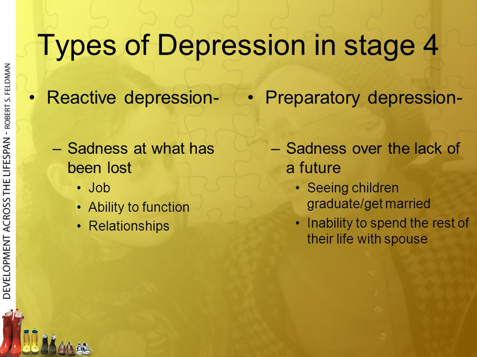 Types of Depression in stage 4 Reactive depression- –Sadness at what has been lost Job Ability to function Relationships Preparatory depression- –Sadn
