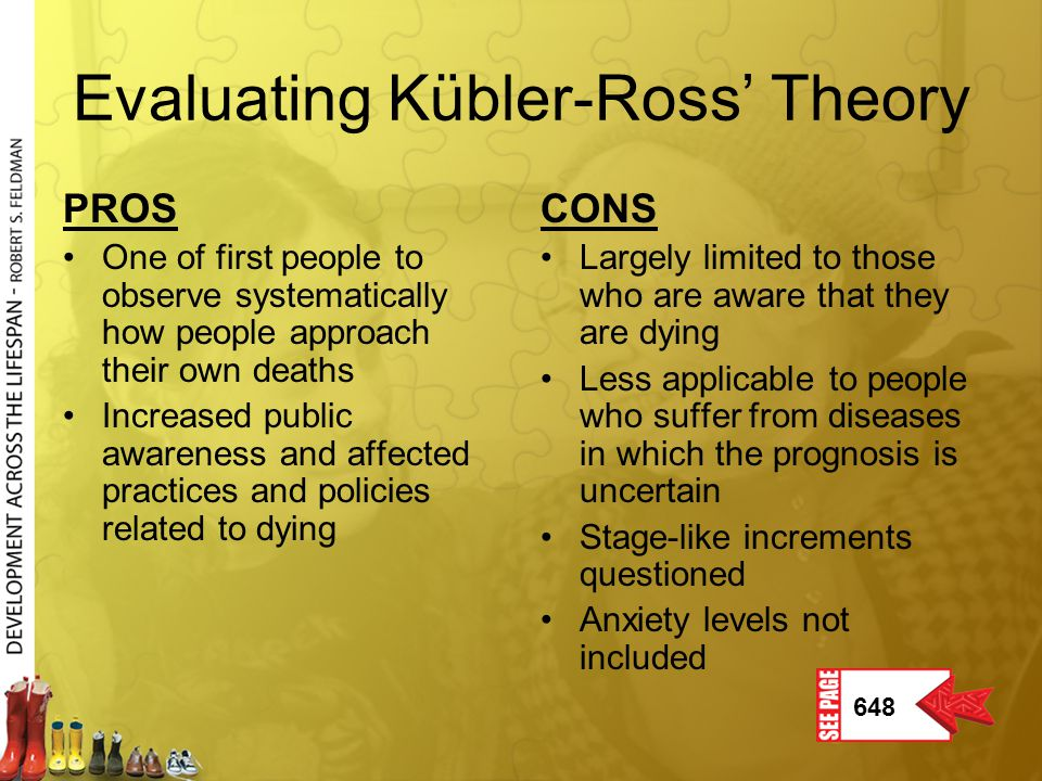 Evaluating Kübler-Ross' Theory PROS One of first people to observe systematically how people approach their own deaths Increased public awareness and