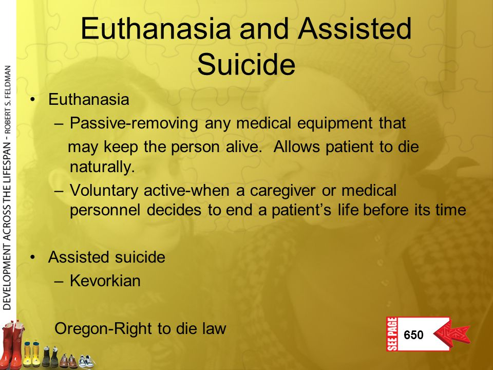 Euthanasia and Assisted Suicide Euthanasia –Passive-removing any medical equipment that may keep the person alive. Allows patient to die naturally. –V