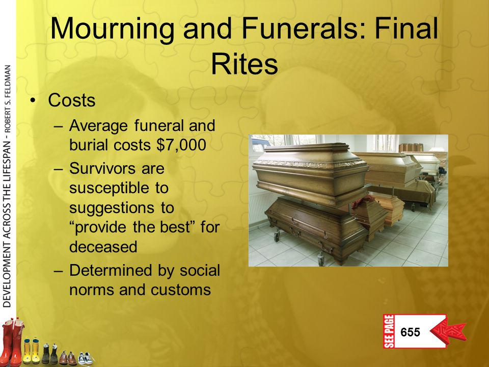 """Mourning and Funerals: Final Rites Costs –Average funeral and burial costs $7,000 –Survivors are susceptible to suggestions to """"provide the best"""" for"""