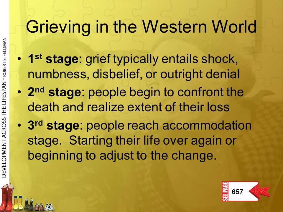 Grieving in the Western World 1 st stage: grief typically entails shock, numbness, disbelief, or outright denial 2 nd stage: people begin to confront