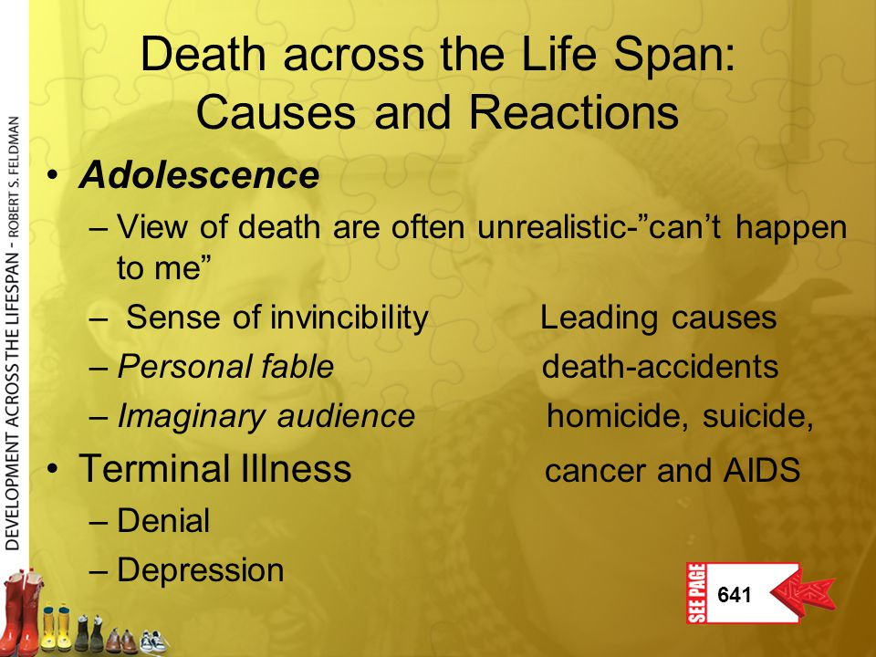 """Death across the Life Span: Causes and Reactions Adolescence –View of death are often unrealistic-""""can't happen to me"""" – Sense of invincibility Leadin"""