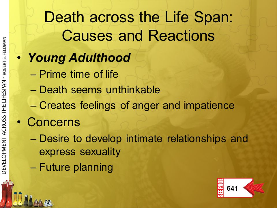 Death in young adulthood Leading cause of death continues to be accidents, followed by suicide, homicide, AIDS, and cancer.
