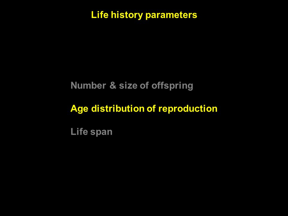 Life history parameters Number & size of offspring Age distribution of reproduction Life span
