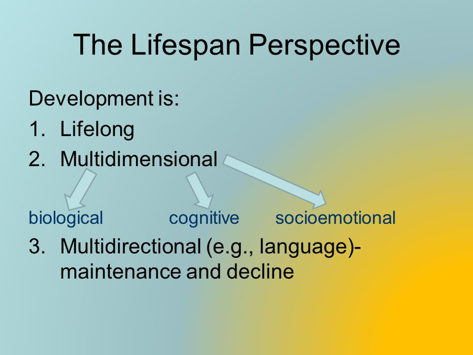 The Lifespan Perspective Development is: 1.Lifelong 2.Multidimensional biological cognitive socioemotional 3.Multidirectional (e.g., language)- mainte