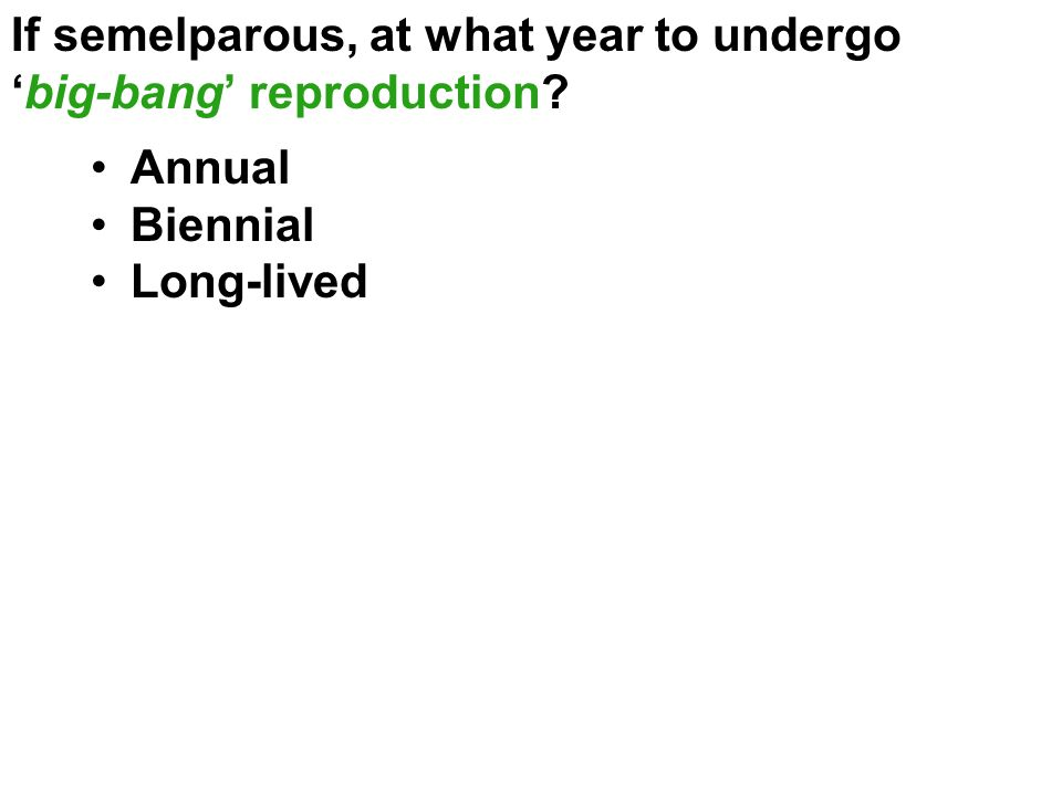 If semelparous, at what year to undergo 'big-bang' reproduction? Annual Biennial Long-lived