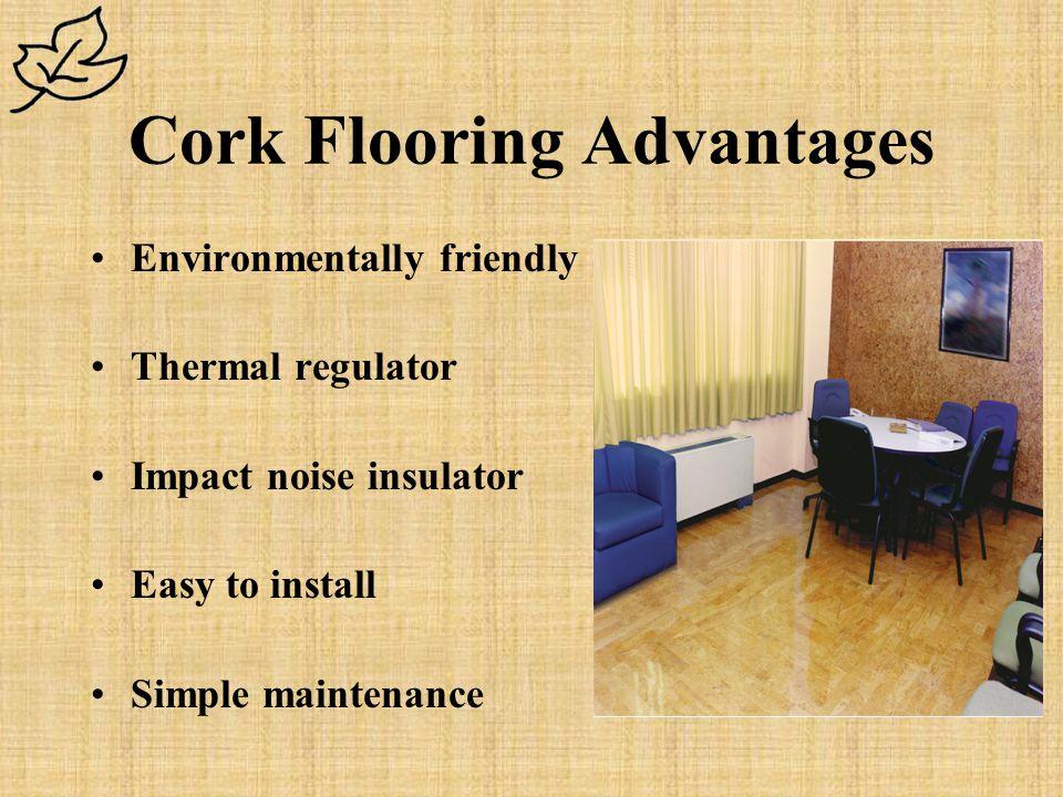 Cork Flooring Advantages Environmentally friendly Thermal regulator Impact noise insulator Easy to install Simple maintenance