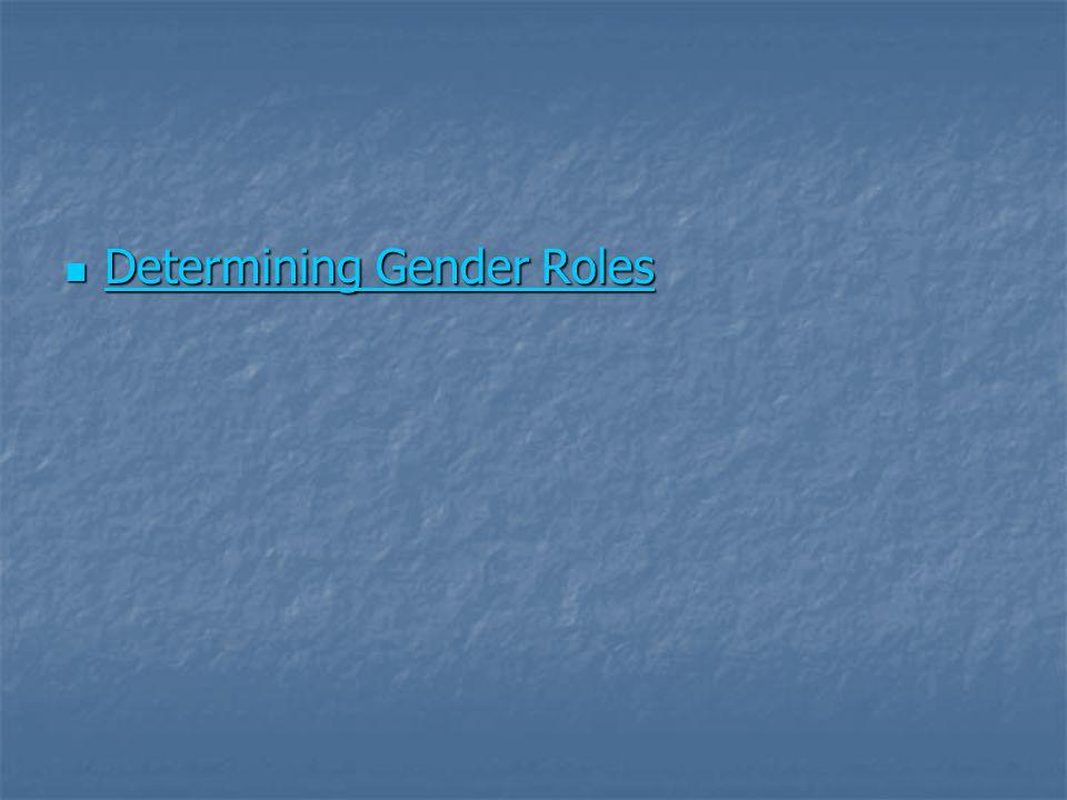Determining Gender Roles Determining Gender Roles Determining Gender Roles Determining Gender Roles