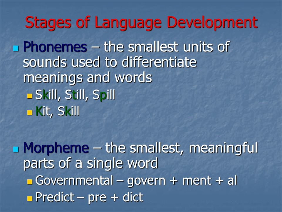 Stages of Language Development Phonemes – the smallest units of sounds used to differentiate meanings and words Phonemes – the smallest units of sounds used to differentiate meanings and words Skill, Still, Spill Skill, Still, Spill Kit, Skill Kit, Skill Morpheme – the smallest, meaningful parts of a single word Morpheme – the smallest, meaningful parts of a single word Governmental – govern + ment + al Governmental – govern + ment + al Predict – pre + dict Predict – pre + dict