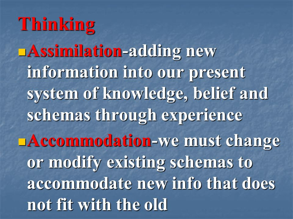 Thinking Assimilation-adding new information into our present system of knowledge, belief and schemas through experience Assimilation-adding new information into our present system of knowledge, belief and schemas through experience Accommodation-we must change or modify existing schemas to accommodate new info that does not fit with the old Accommodation-we must change or modify existing schemas to accommodate new info that does not fit with the old