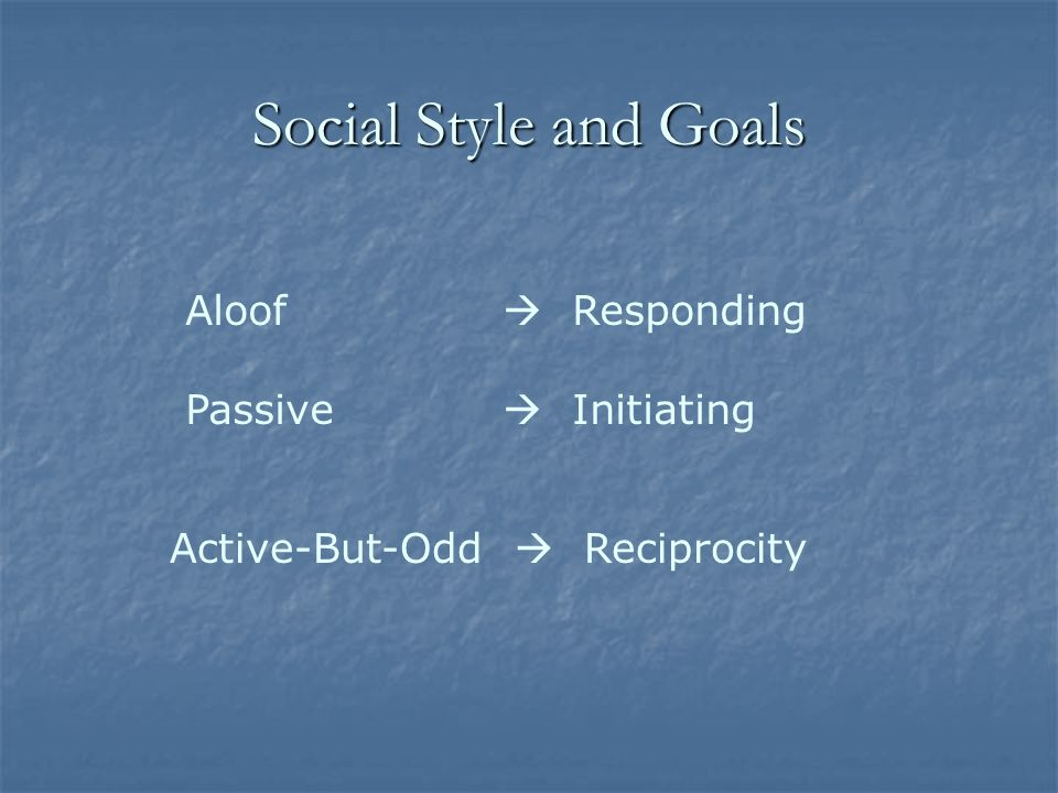 Social Style Aloof Aloof Passive Passive Active-But-Odd Active-But-Odd