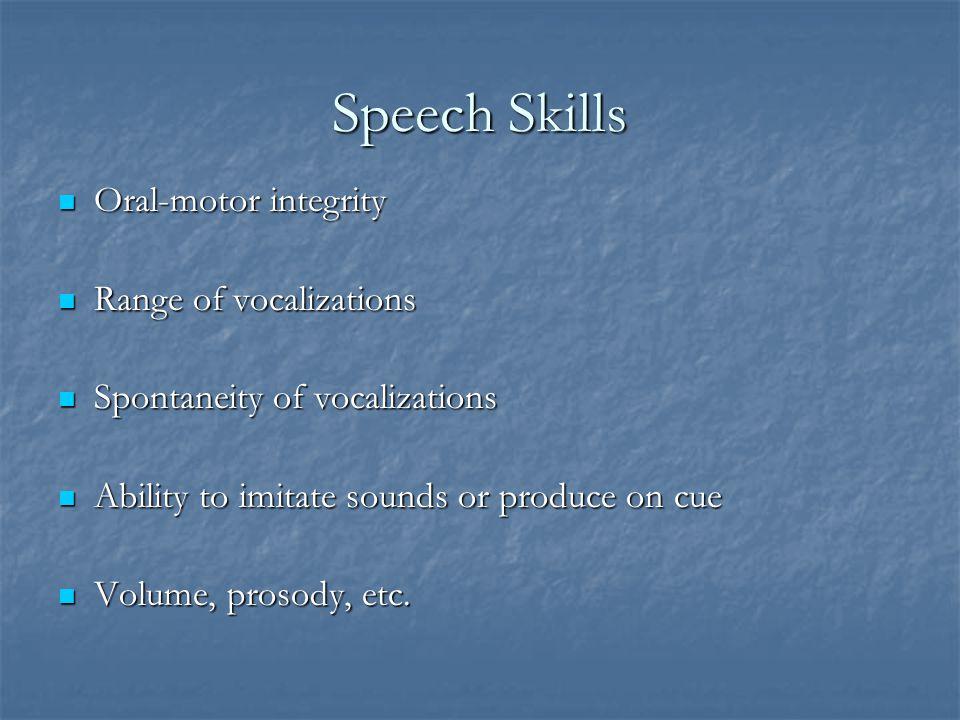 Language Skills Receptive ability Receptive ability Expressive ability Expressive ability Pragmatic skills Pragmatic skills Functional/spontaneous use