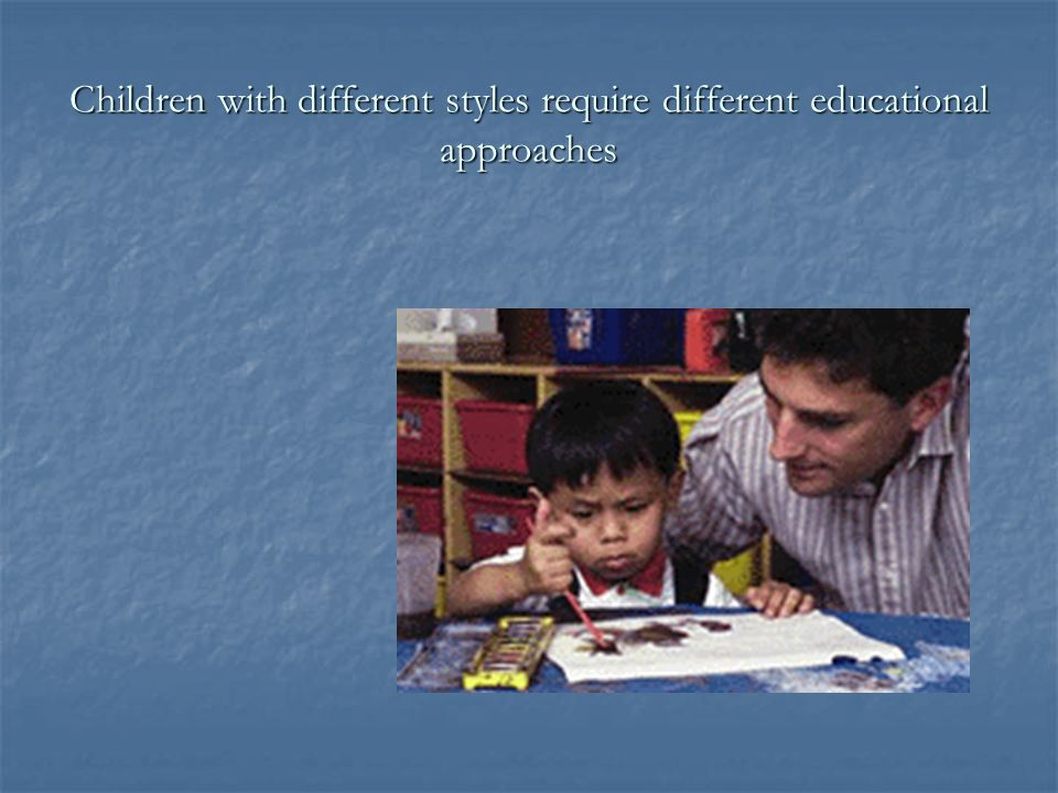 Children with different styles require different educational approaches