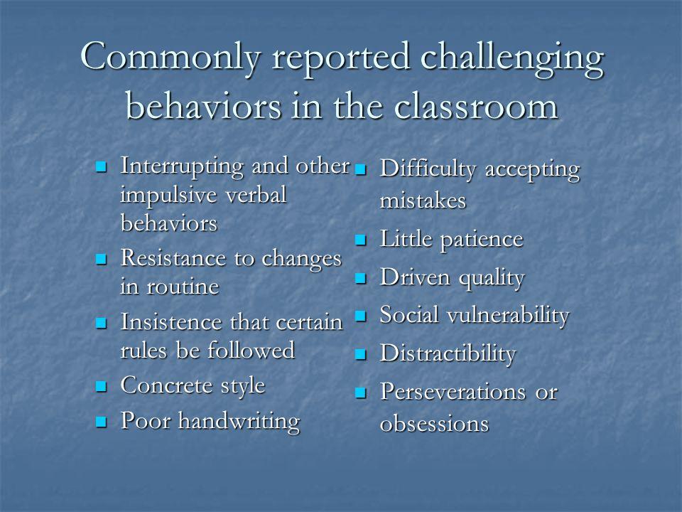 III. Minimizing Problem Behaviors that interfere in classroom activities
