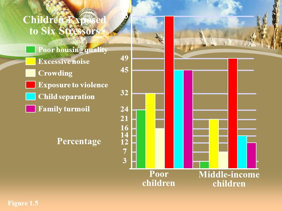 Figure 1.5 Children Exposed to Six Stressors 14 3 7 73 12 16 21 24 32 45 49 Percentage Middle-income children Poor children Exposure to violence Crowd