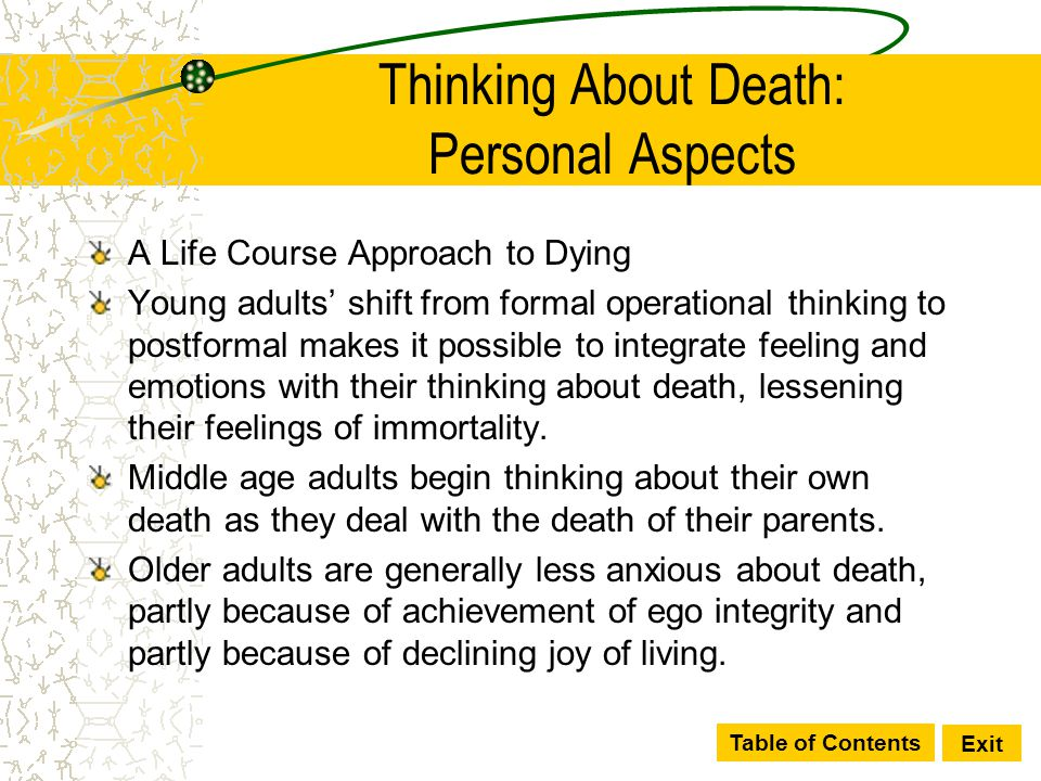 Table of Contents Exit Thinking About Death: Personal Aspects A Life Course Approach to Dying Young adults' shift from formal operational thinking to