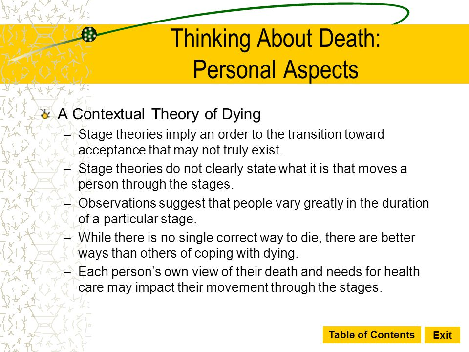 Table of Contents Exit Thinking About Death: Personal Aspects A Contextual Theory of Dying –Stage theories imply an order to the transition toward acc