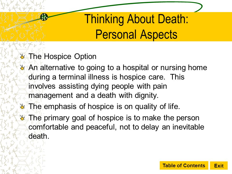 Table of Contents Exit Thinking About Death: Personal Aspects The Hospice Option An alternative to going to a hospital or nursing home during a termin