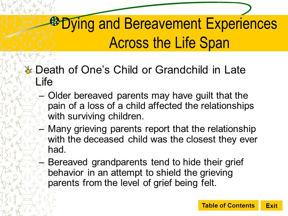 Table of Contents Exit Dying and Bereavement Experiences Across the Life Span Death of One's Child or Grandchild in Late Life –Older bereaved parents