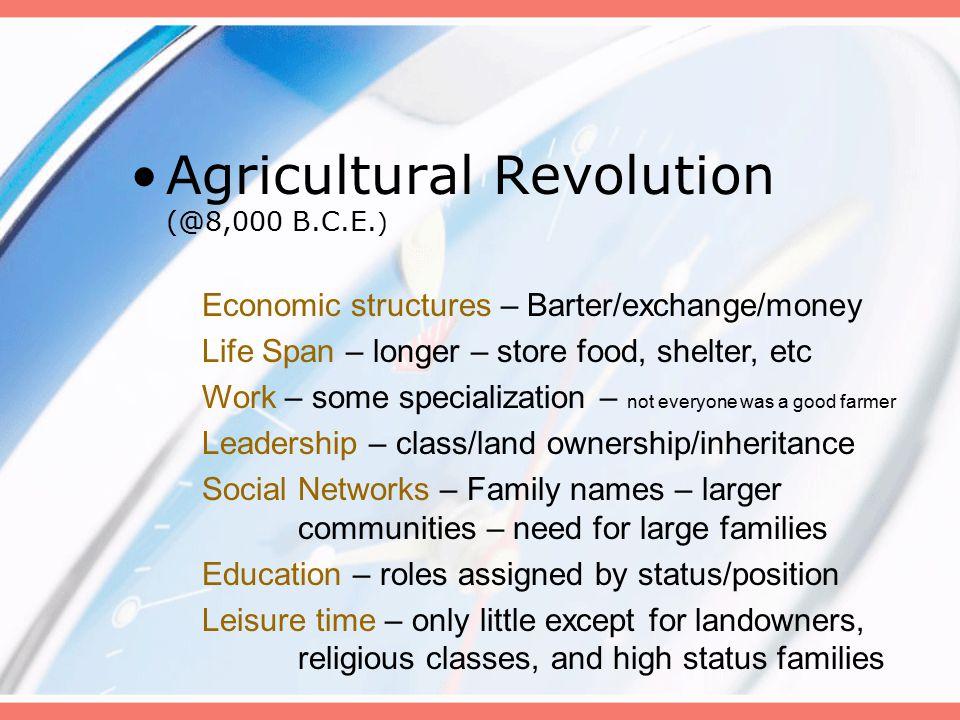 Agricultural Revolution (@8,000 B.C.E.