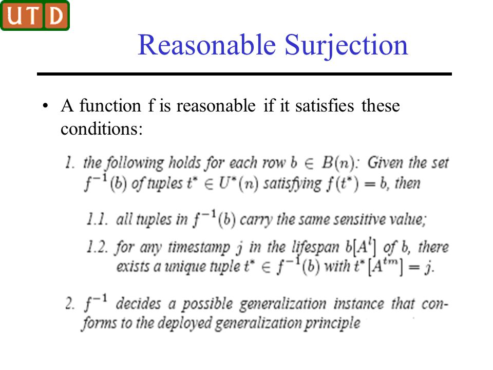 Reasonable Surjection A function f is reasonable if it satisfies these conditions: