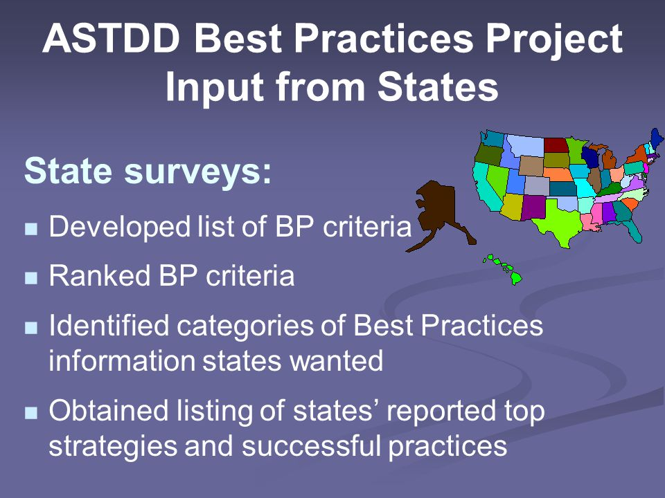 ASTDD Best Practices Project Input from States State surveys: Developed list of BP criteria Ranked BP criteria Identified categories of Best Practices information states wanted Obtained listing of states' reported top strategies and successful practices