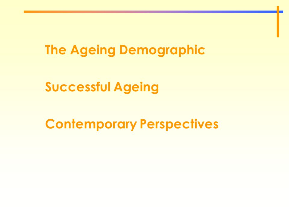 The Ageing Demographic Successful Ageing Contemporary Perspectives