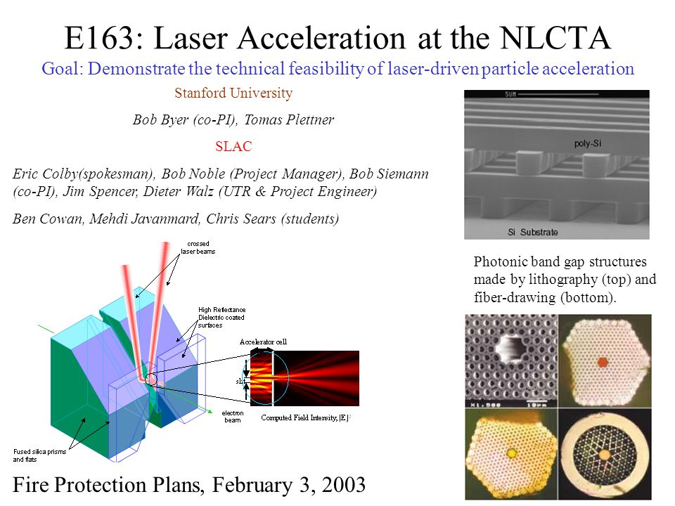 E163: Laser Acceleration at the NLCTA Goal: Demonstrate the technical feasibility of laser-driven particle acceleration Photonic band gap structures m