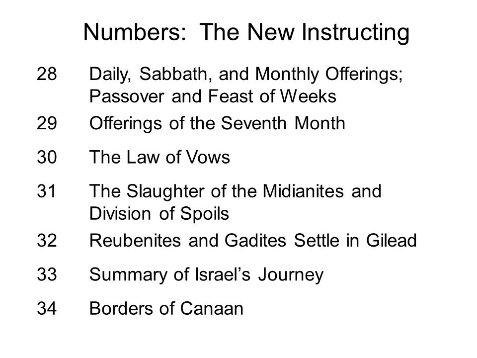 28Daily, Sabbath, and Monthly Offerings; Passover and Feast of Weeks 29Offerings of the Seventh Month 30The Law of Vows 31The Slaughter of the Midiani