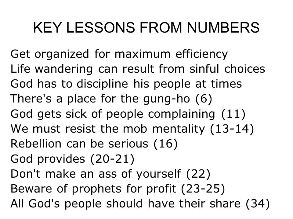 KEY LESSONS FROM NUMBERS Get organized for maximum efficiency Life wandering can result from sinful choices God has to discipline his people at times