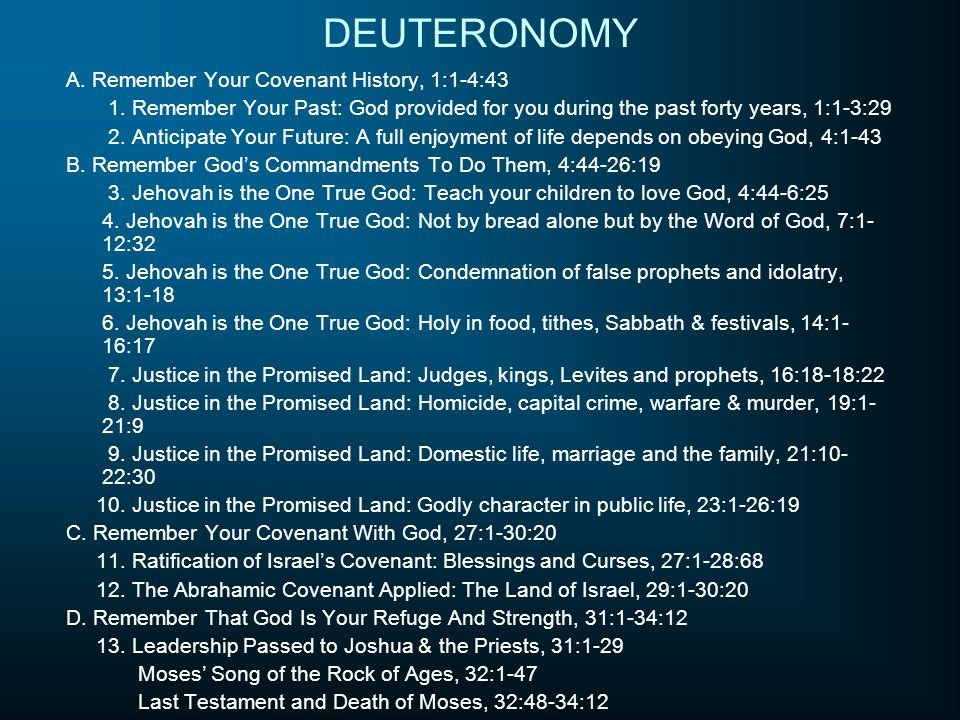 DEUTERONOMY A. Remember Your Covenant History, 1:1-4:43 1. Remember Your Past: God provided for you during the past forty years, 1:1-3:29 2. Anticipat