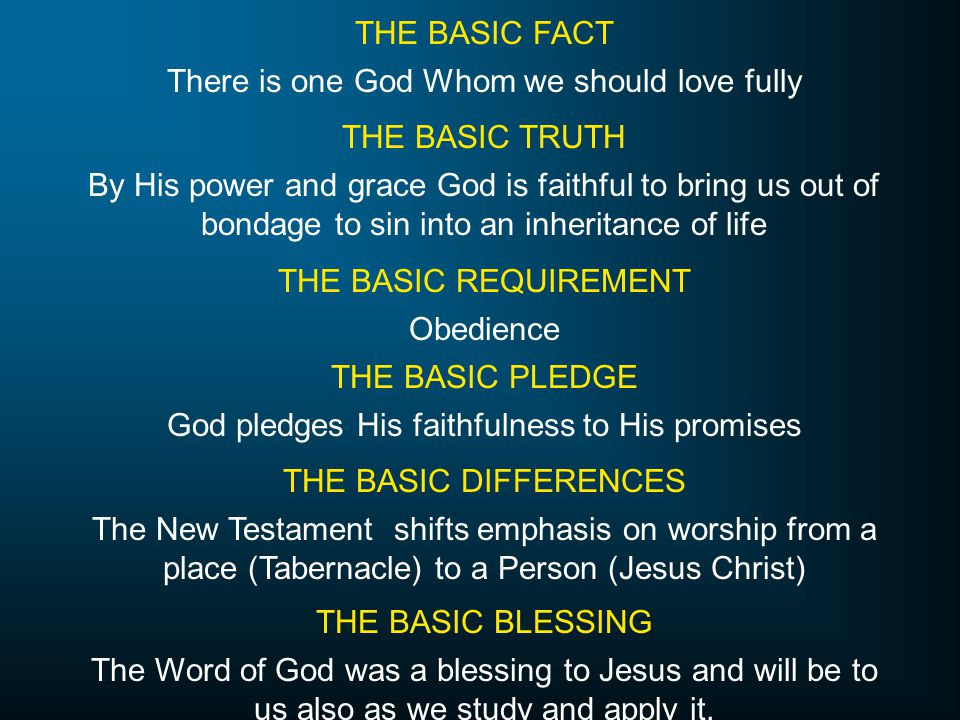 THE BASIC FACT There is one God Whom we should love fully THE BASIC TRUTH By His power and grace God is faithful to bring us out of bondage to sin int