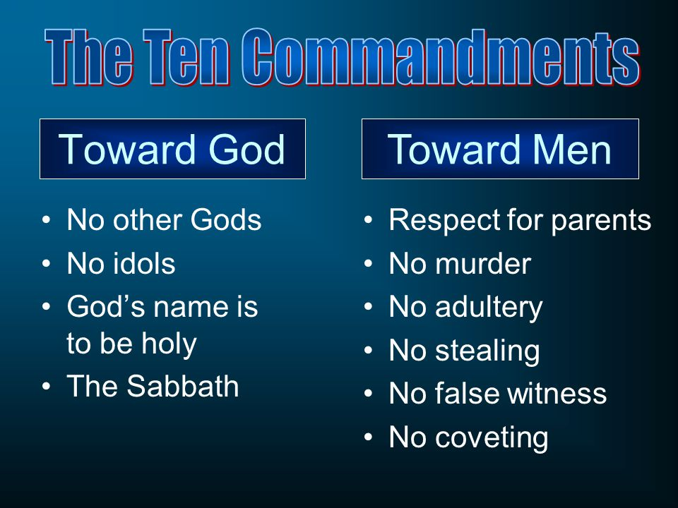 Toward God No other Gods No idols God's name is to be holy The Sabbath Respect for parents No murder No adultery No stealing No false witness No covet