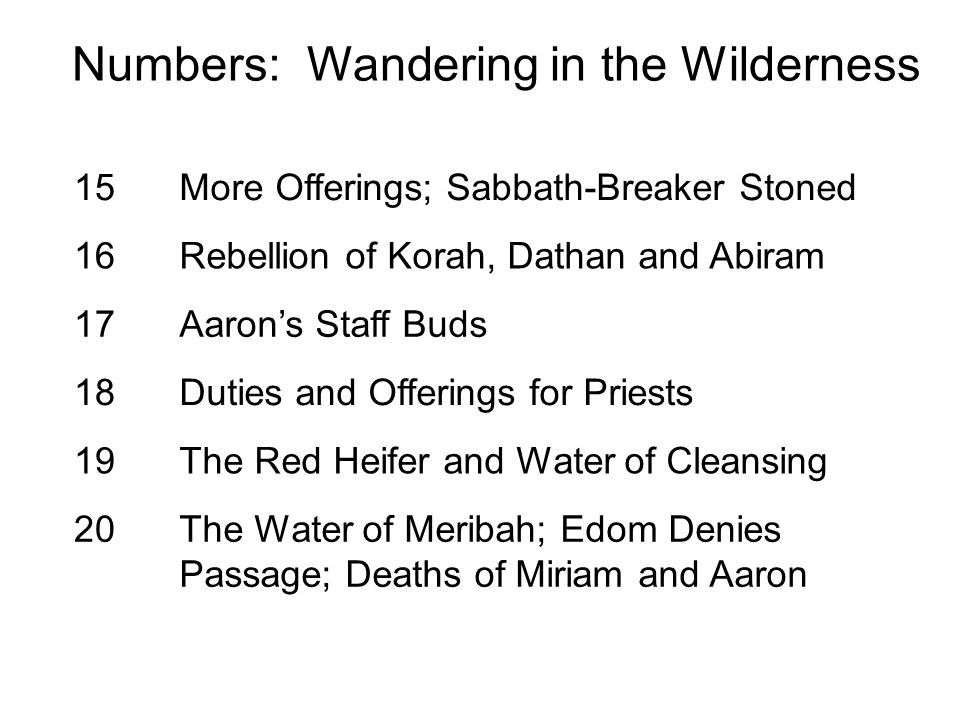 15More Offerings; Sabbath-Breaker Stoned 16Rebellion of Korah, Dathan and Abiram 17Aaron's Staff Buds 18Duties and Offerings for Priests 19The Red Hei