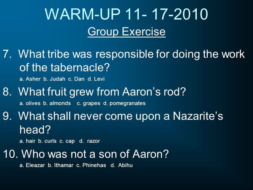 WARM-UP 11- 17-2010 Group Exercise 7. What tribe was responsible for doing the work of the tabernacle? a. Asher b. Judah c. Dan d. Levi 8. What fruit