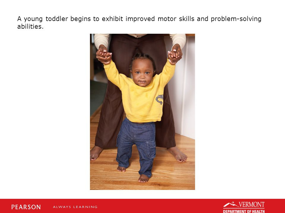 A young toddler begins to exhibit improved motor skills and problem-solving abilities.