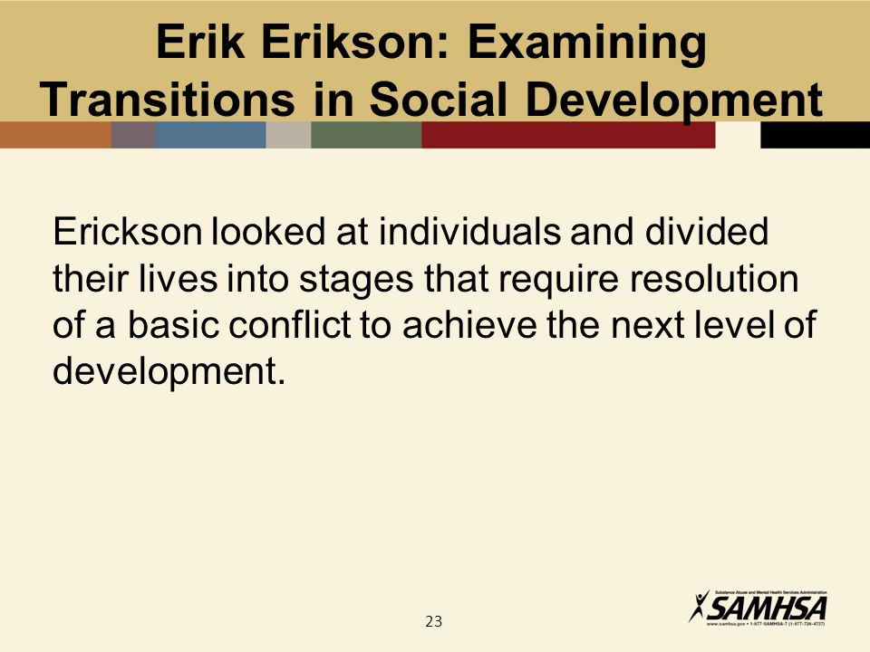 23 Erik Erikson: Examining Transitions in Social Development Erickson looked at individuals and divided their lives into stages that require resolution of a basic conflict to achieve the next level of development.