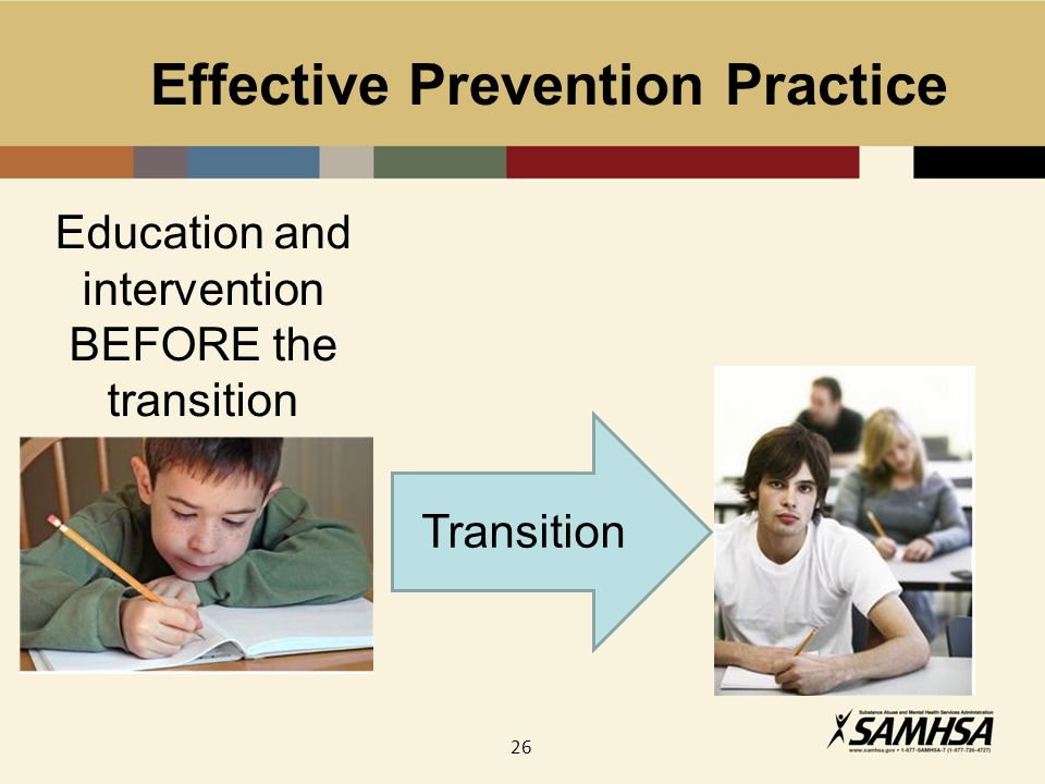 26 Effective Prevention Practice Transition Education and intervention BEFORE the transition
