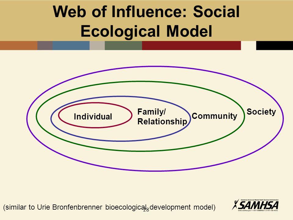 28 Web of Influence: Social Ecological Model (similar to Urie Bronfenbrenner bioecological development model) Individual Family/ Relationship Communit