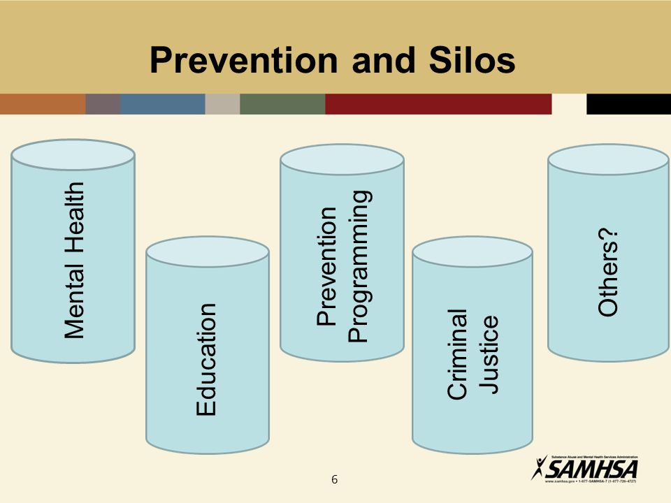 6 Prevention and Silos Mental Health Prevention Programming Criminal Justice Others? Education