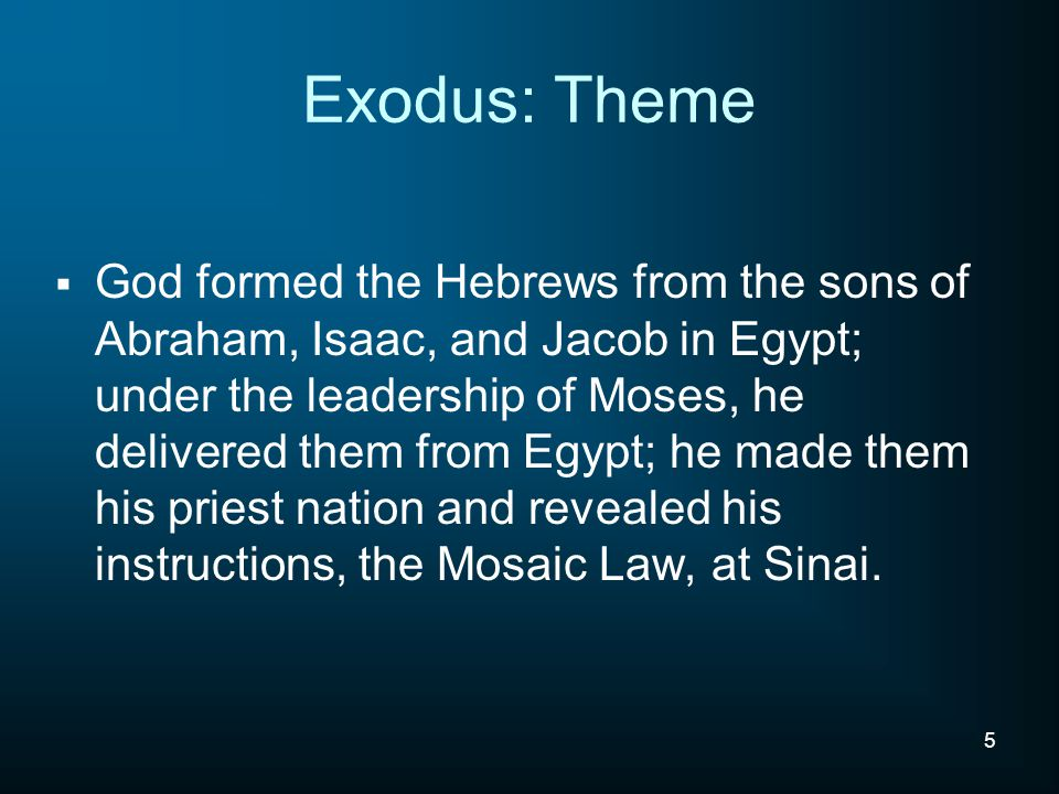 I.Moses – The Man II. Moses – The Decision Maker III.