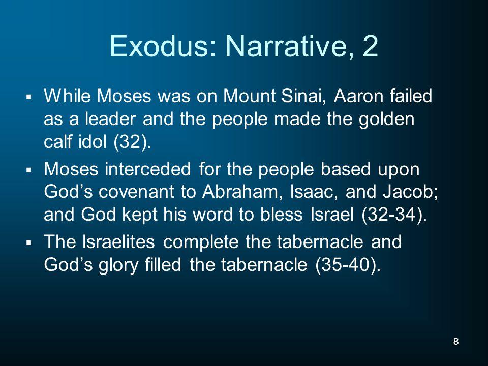 9 Exodus Overview Exodus 1-6, Moses' Preparation Exodus 7-18, Plagues and Exodus Exodus 19-24, Priest Nation and The Law Exodus 25-40, Tabernacle