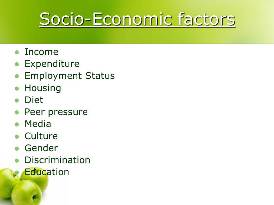 Socio-Economic factors Income Expenditure Employment Status Housing Diet Peer pressure Media Culture Gender Discrimination Education
