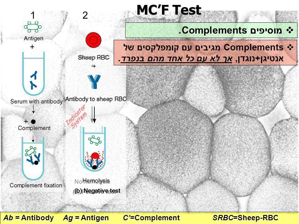 MC'F Test Ab = AntibodyAg = Antigen C'=ComplementSRBC=Sheep-RBC 2  מוסיפים Complements.  Complements מגיבים עם קומפלקסים של אנטיגן+נוגדן, אך לא עם כ