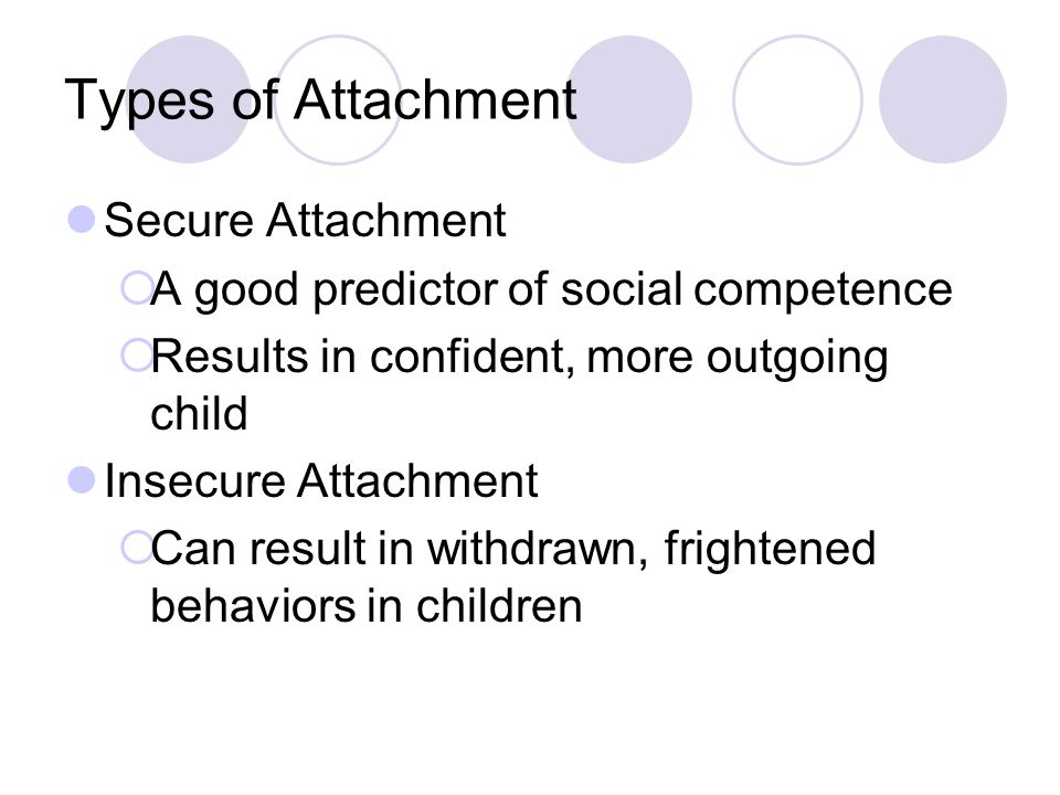 Types of Attachment Secure Attachment  A good predictor of social competence  Results in confident, more outgoing child Insecure Attachment  Can re