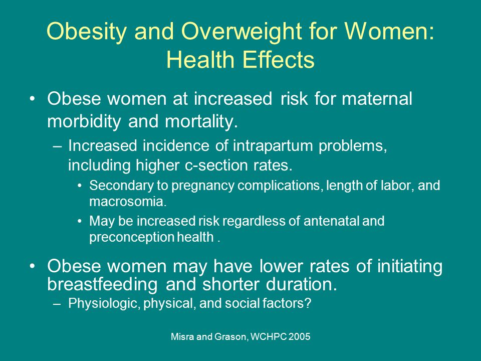 Misra and Grason, WCHPC 2005 Obesity and Overweight for Women: Health Effects Obese women at increased risk for maternal morbidity and mortality. –Inc
