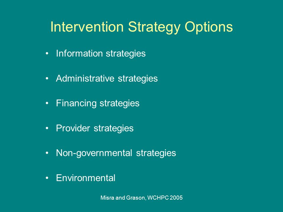 Misra and Grason, WCHPC 2005 Intervention Strategy Options Information strategies Administrative strategies Financing strategies Provider strategies N