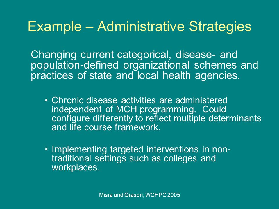 Misra and Grason, WCHPC 2005 Example – Administrative Strategies Changing current categorical, disease- and population-defined organizational schemes