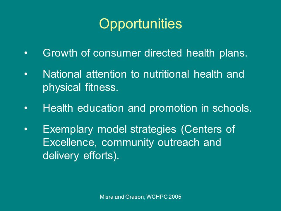 Misra and Grason, WCHPC 2005 Growth of consumer directed health plans. National attention to nutritional health and physical fitness. Health education