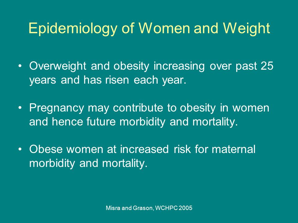Misra and Grason, WCHPC 2005 Epidemiology of Women and Weight Overweight and obesity increasing over past 25 years and has risen each year. Pregnancy